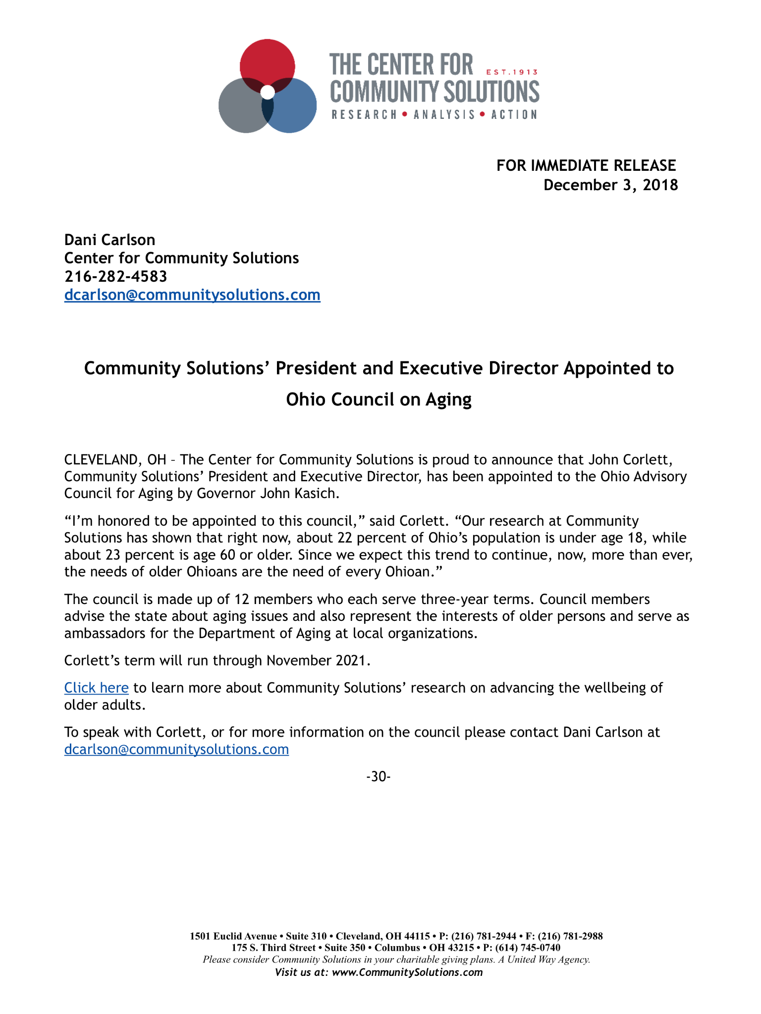 President and Executive Director Appointed to Ohio Council on Aging